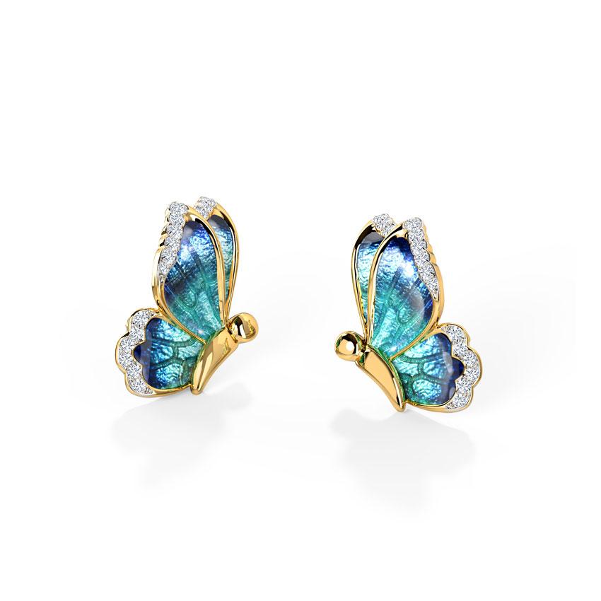 Diamond Earrings 18 Karat Yellow Gold Flutter Blue Butterfly Diamond Stud Earrings