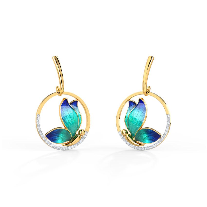 Encircle Blue Butterfly Drop Earrings