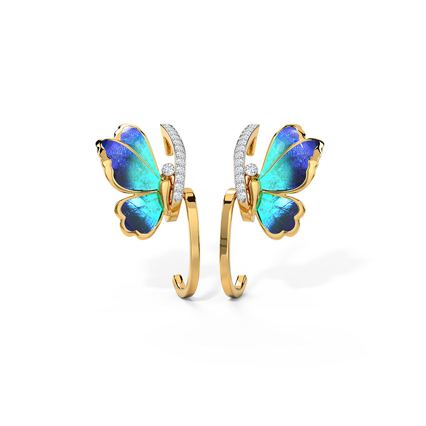 Tendril Blue Butterfly Hoop Earrings