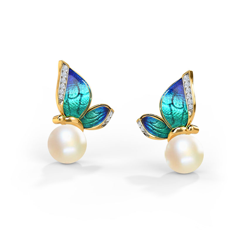 Perched Blue Butterfly Stud Earrings