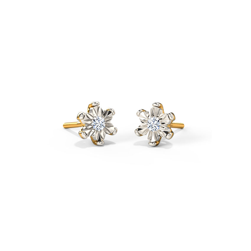 Diamond Earrings 18 Karat Yellow Gold Fleur Miracle Plate Diamond Stud Earrings