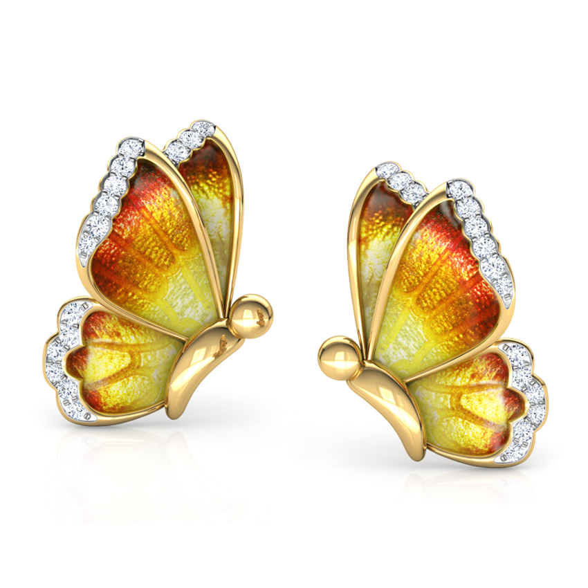 Flutter Orange Butterfly Stud Earrings