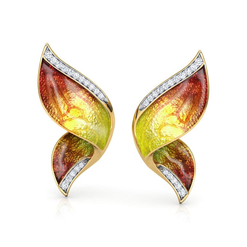 Pinion Orange Butterfly Ear Cuffs