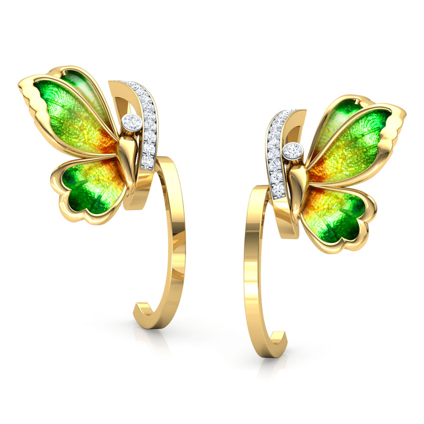 Tendril Green Butterfly Hoop Earrings
