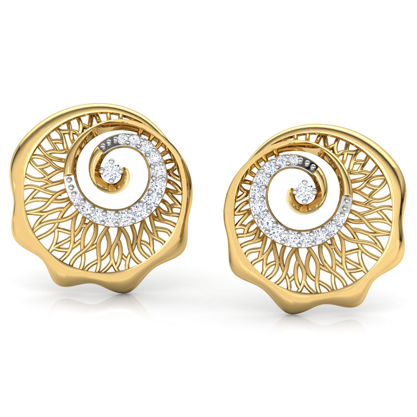Diamond Earrings 18 Karat Yellow Gold Oak Roots Diamond Stud Earrings