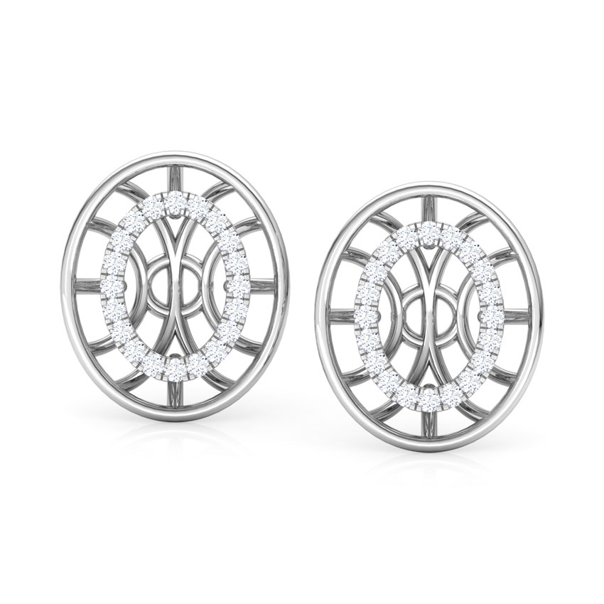 Diamond Earrings 14 Karat White Gold Bhavan Circular Diamond Stud Earrings