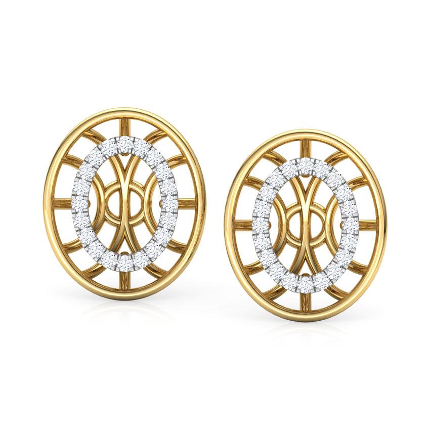 Diamond Earrings 18 Karat Yellow Gold Bhavan Circular Diamond Stud Earrings