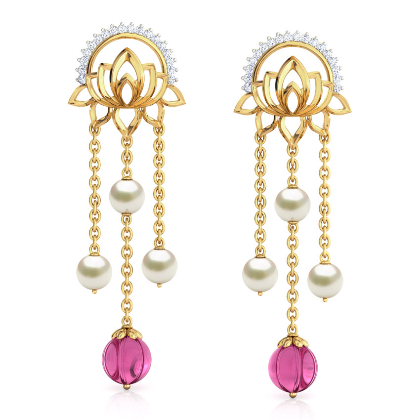 Diamond,Gemstone Earrings 18 Karat Yellow Gold Rambagh Pond Gemstone Drop Earrings