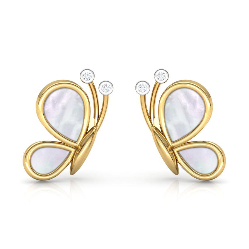 Butterfly Mother of Pearl Stud Earrings