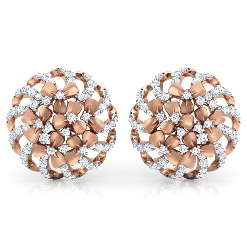 Diamond Earrings 18 Karat Rose Gold Trillium Floral Diamond Stud Earrings