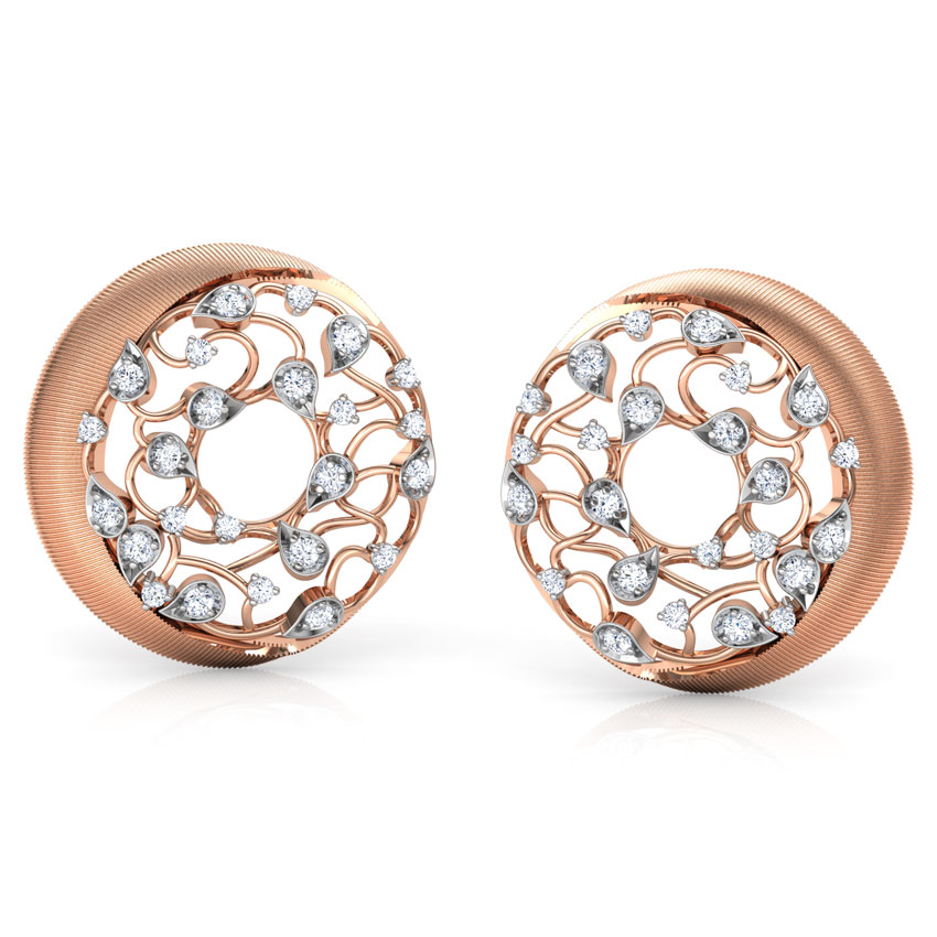 Circular Filigree Brocade Stud Earrings
