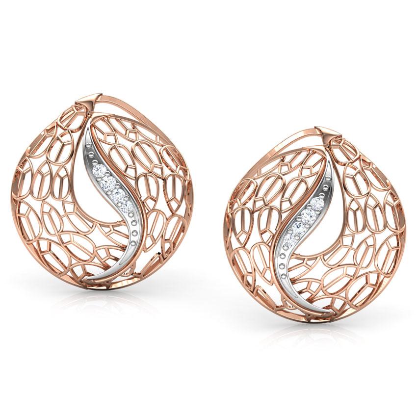 Diamond Earrings 18 Karat Rose Gold Lucia Trellis Diamond Stud Earrings