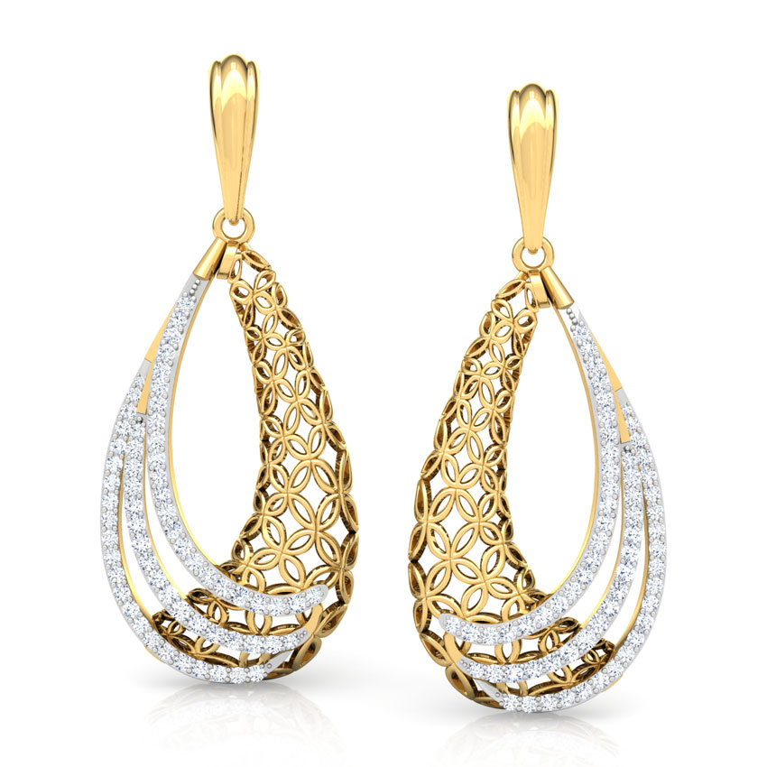 Diamond Earrings 14 Karat Yellow Gold Dina Trellis Diamond Drop Earrings