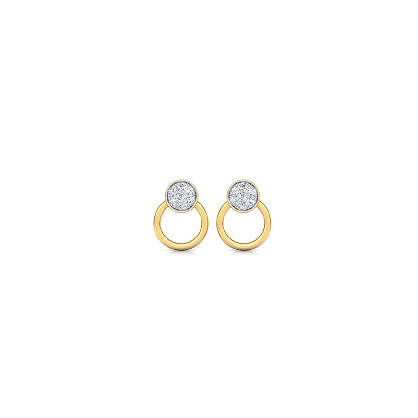 Diamond Earrings 18 Karat Yellow Gold Circlet Stud Earrings