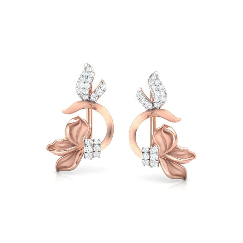 Diamond Earrings 18 Karat Rose Gold Snowdrop Floret  Ear Cuffs