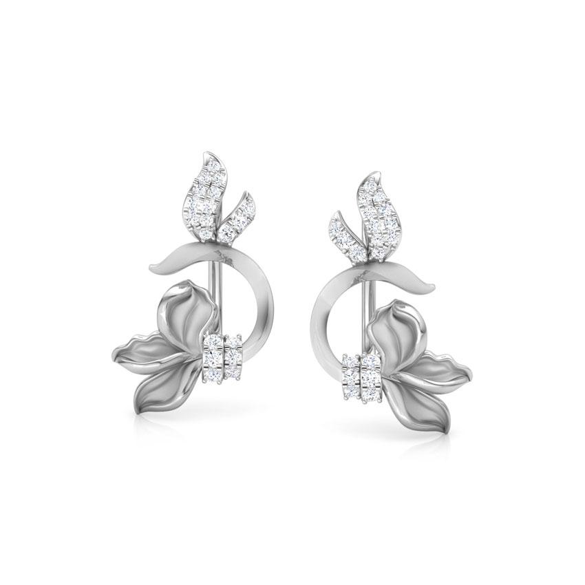 Diamond Earrings 18 Karat White Gold Snowdrop Floret Diamond Ear Cuffs