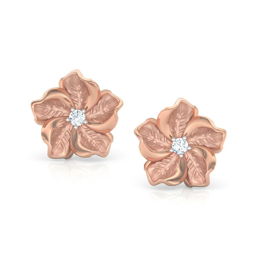 Diamond Earrings 18 Karat Rose Gold Rue Bloom Diamond Stud Earrings