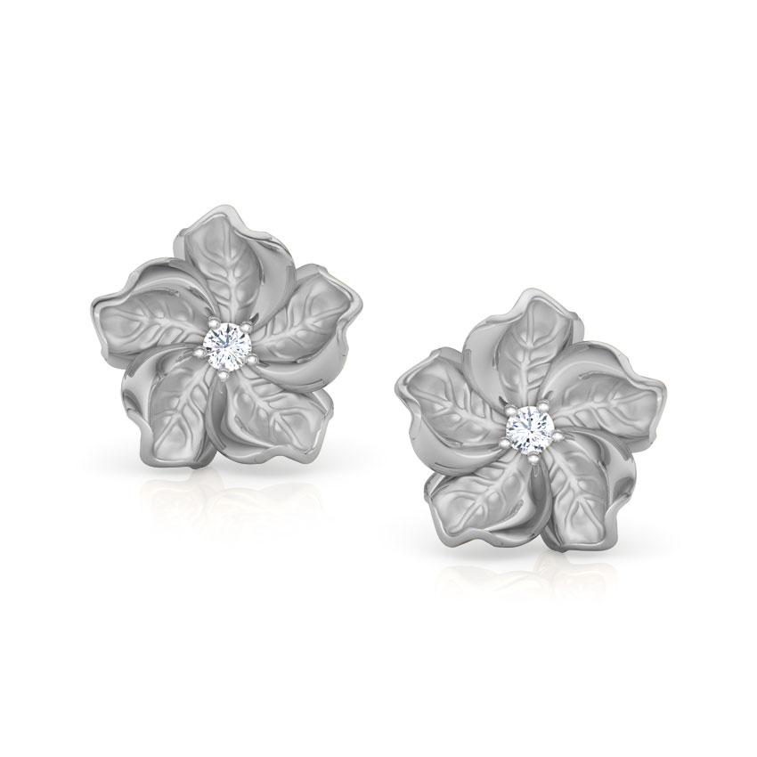 Diamond Earrings 18 Karat White Gold Rue Bloom Diamond Stud Earrings