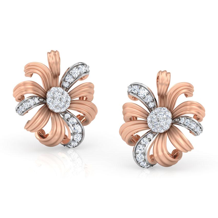 Diamond Earrings 14 Karat Rose Gold Daisy Bloom Stud Earrings