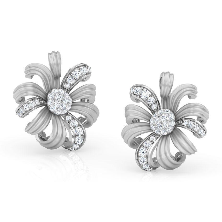 Diamond Earrings 14 Karat White Gold Daisy Bloom Diamond  Stud Earrings