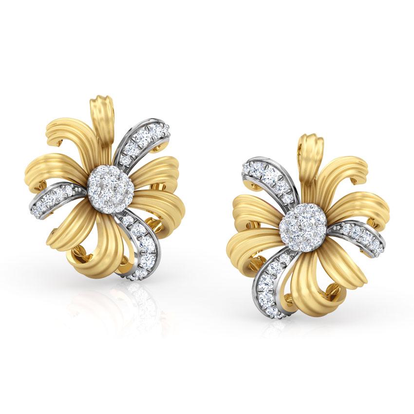 Diamond Earrings 14 Karat Yellow Gold Daisy Bloom Diamond  Stud Earrings