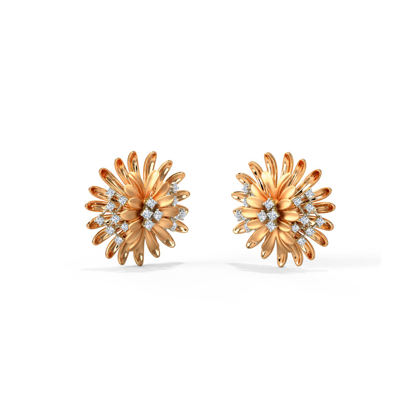 Zinnia Bloom Stud Earrings