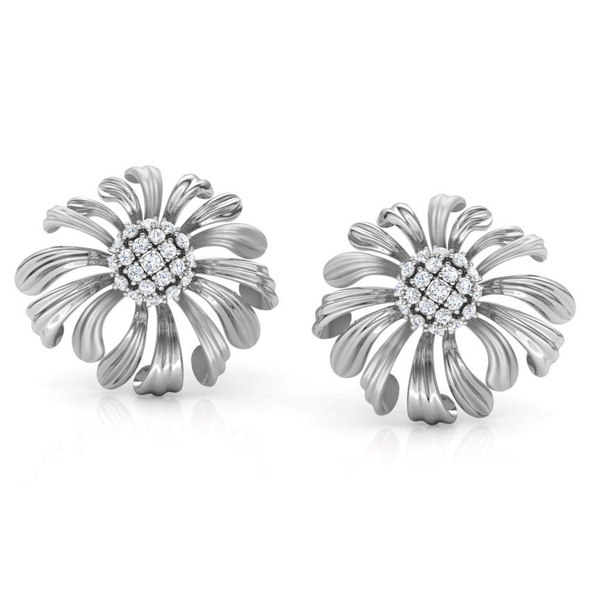 Diamond Earrings 14 Karat White Gold Aster Bloom Diamond Stud Earrings