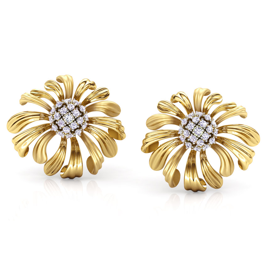 Diamond Earrings 18 Karat Yellow Gold Aster Bloom Diamond Stud Earrings