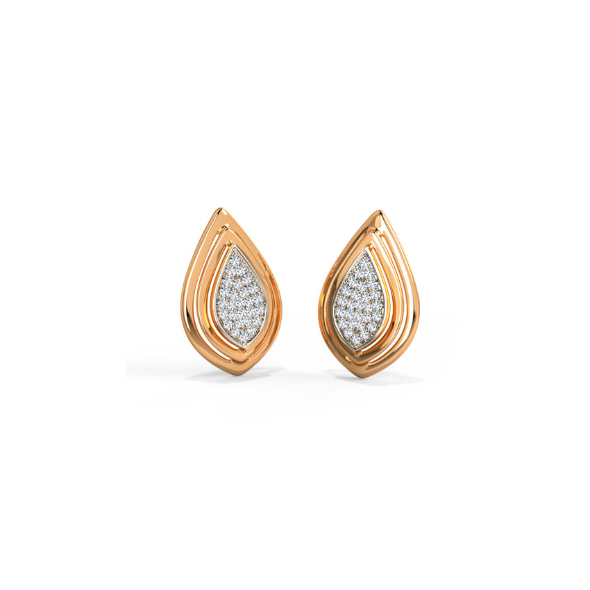 Enclosed Pear Stud Earrings