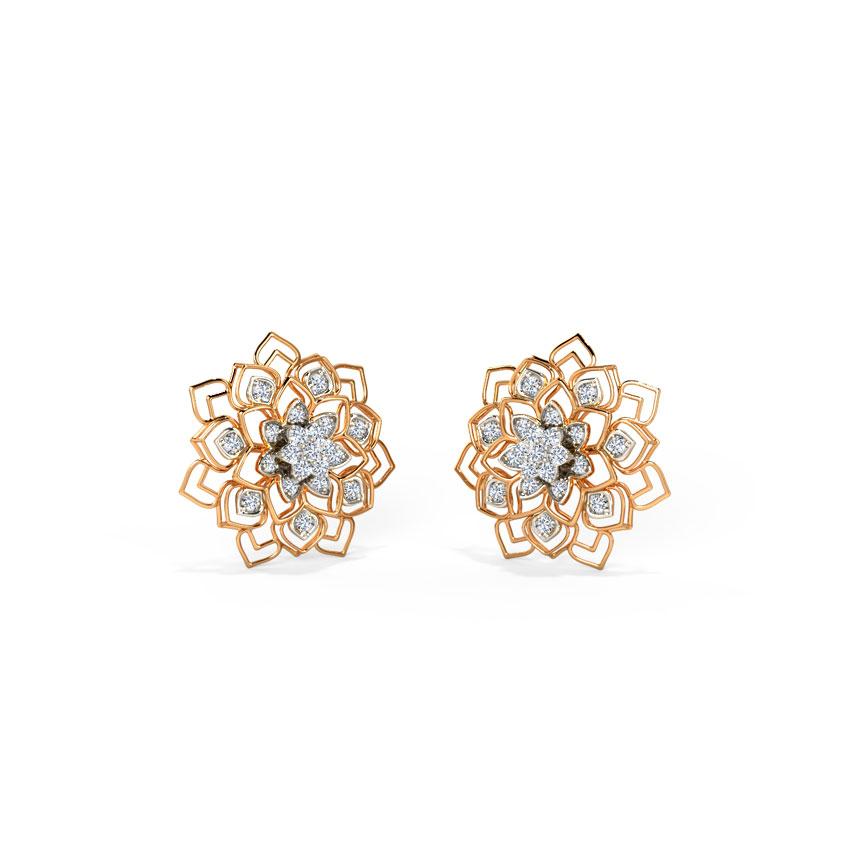 Diamond Earrings 18 Karat Rose Gold Lillian Stud Earrings