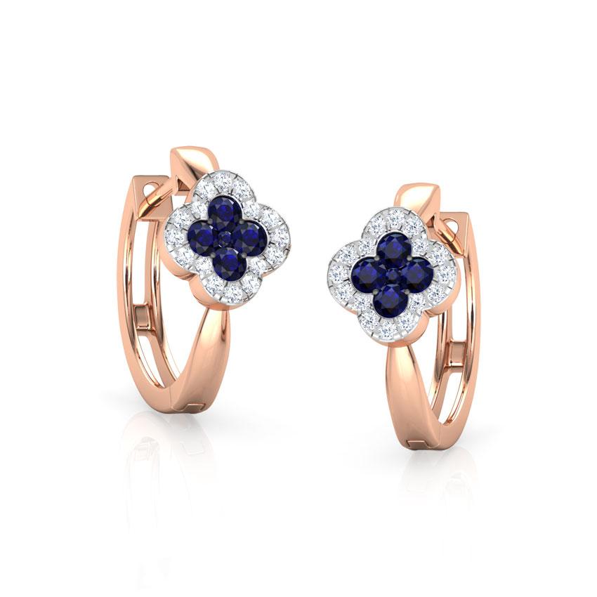 Sapphire Floret Hoop Earrings