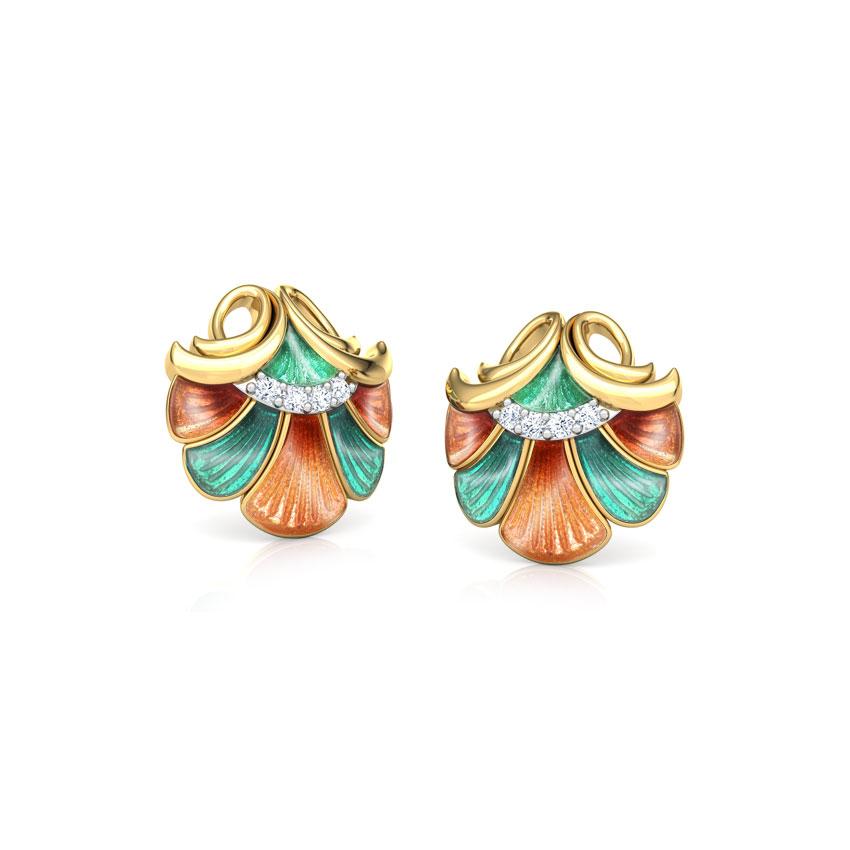 Diamond Earrings 18 Karat Yellow Gold Latifa Floral Diamond Stud Earrings