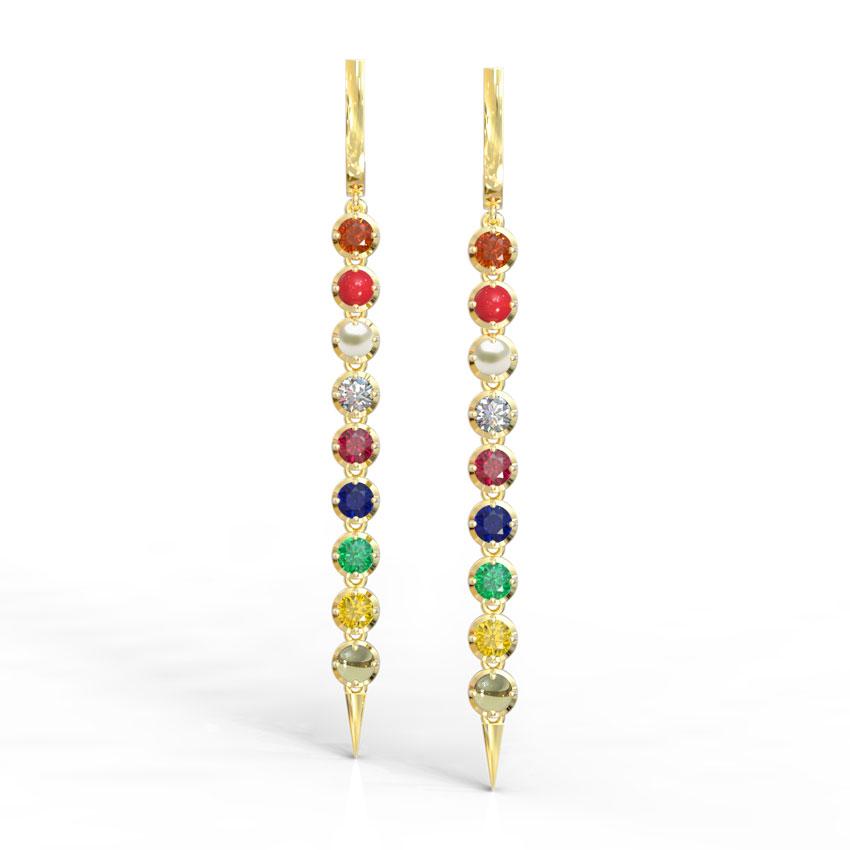 Linear Navratna Drop Earrings