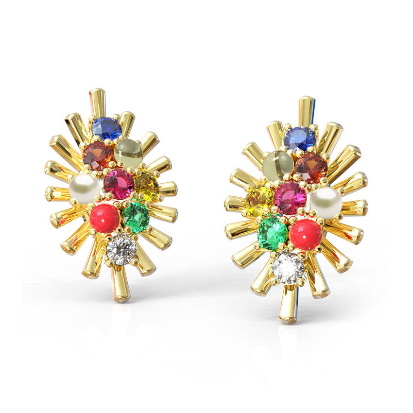Gleaming Navratna Stud Earrings