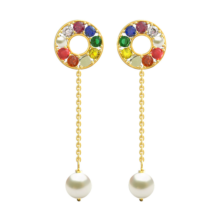 Halo Navratna Drop Earrings