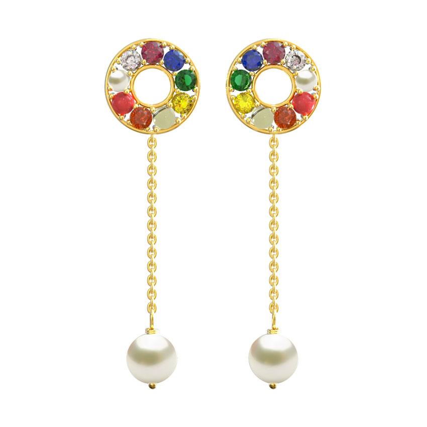 Diamond,Gemstone Earrings 14 Karat Rose Gold Halo Gesmtones Drop Earrings