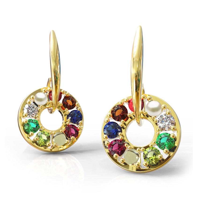 Encircled Navratna Drop Earrings
