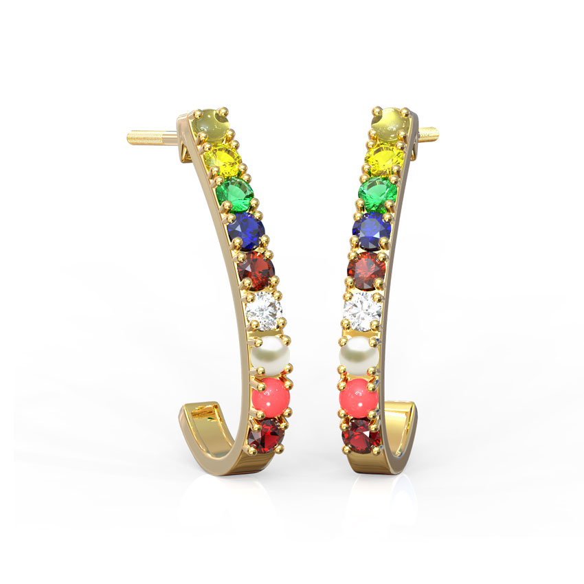 Navratna Hoop Earrings