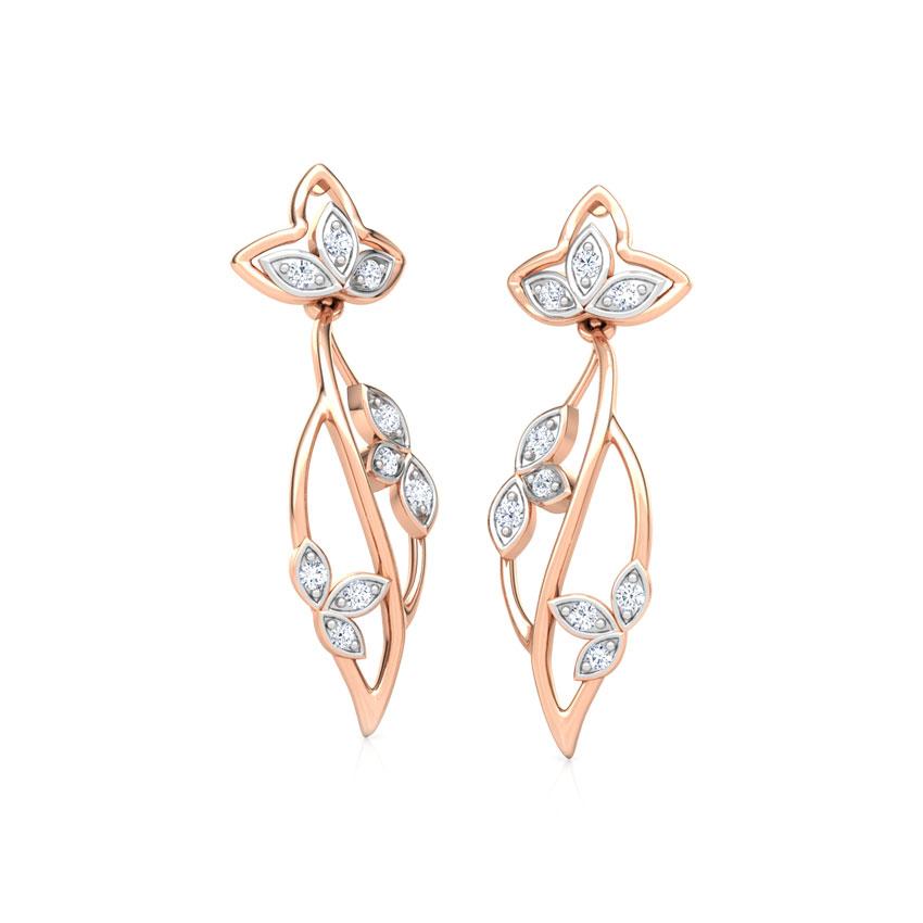 Diamond Earrings 18 Karat Rose Gold Glowing Petals Diamond Drop Earrings