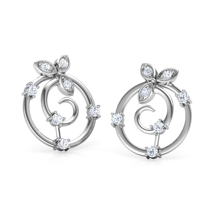 Diamond Earrings 18 Karat White Gold Glittering Petals Diamond  Stud Earrings
