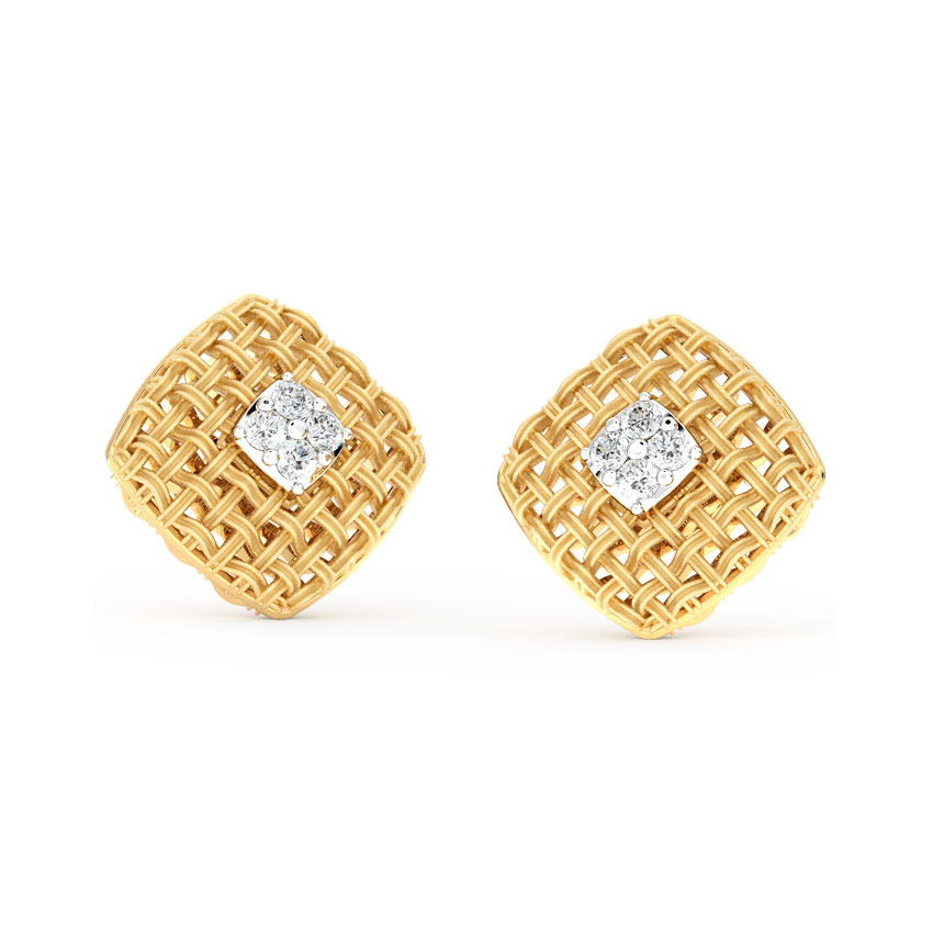 Checkered Twill Stud Earrings
