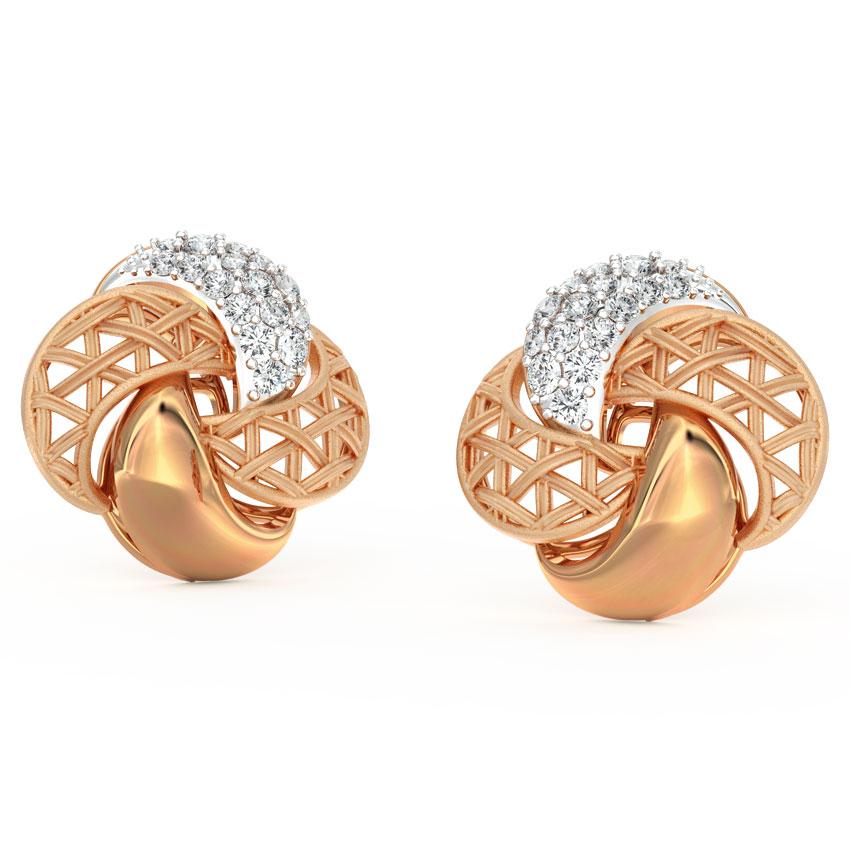 Diamond Earrings 18 Karat Rose Gold Overlay Interlaced Diamond Stud Earrings