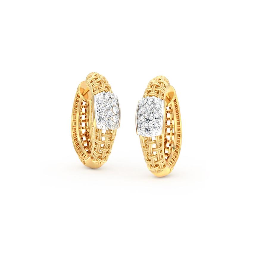 Diamond Earrings 14 Karat Yellow Gold Trendy Twill Diamond Hoop Earrings