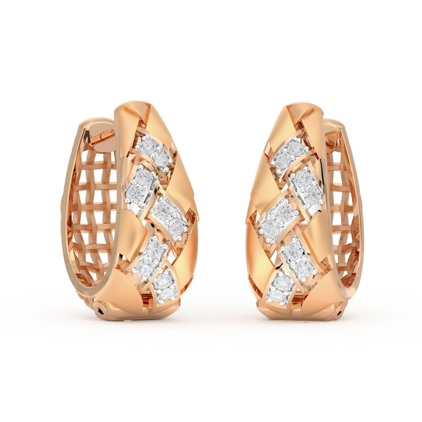 Diamond Earrings 14 Karat Rose Gold Braid Twill Diamond Hoop Earrings
