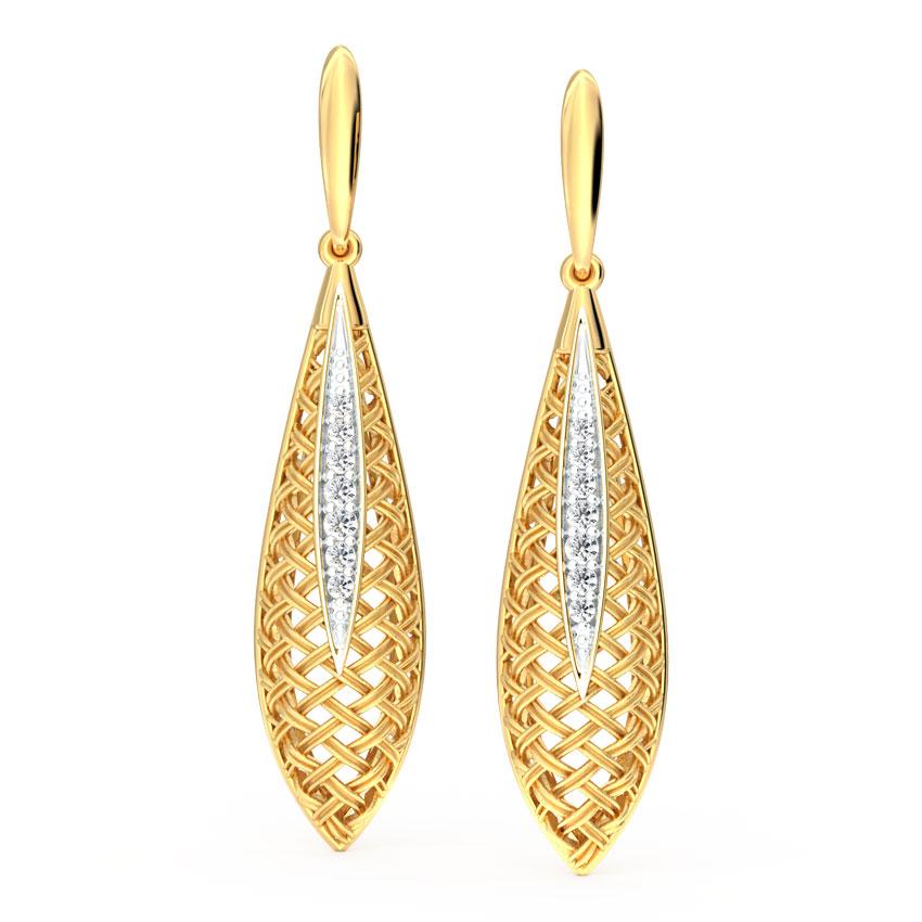 Diamond Earrings 18 Karat Yellow Gold Swish Twill Diamond Drop Earrings