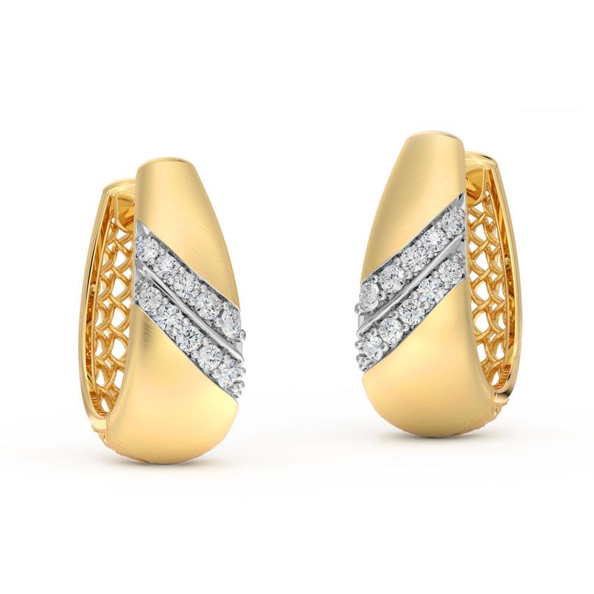 Diamond Earrings 14 Karat Yellow Gold Retro Twill Diamond Hoop Earrings