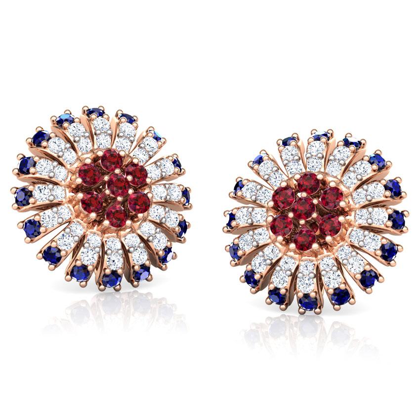 Diamond,Gemstone Earrings 18 Karat Rose Gold Nitya Vibrant Gemstone Stud Earrings