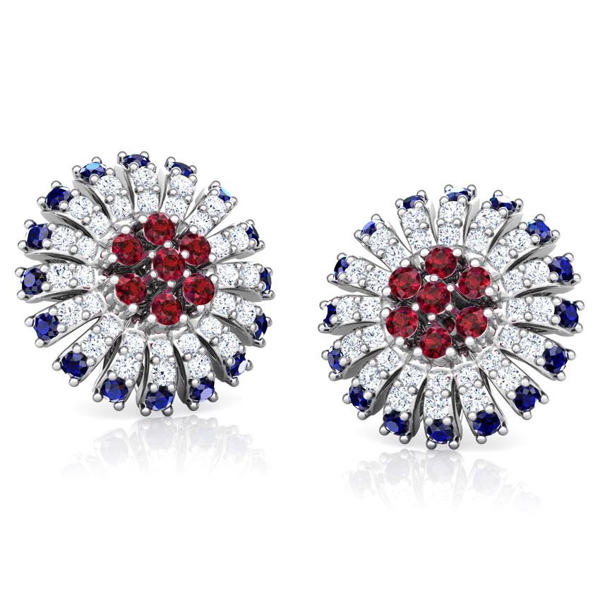 Diamond,Gemstone Earrings 18 Karat White Gold Nitya Vibrant Gemstone Stud Earrings
