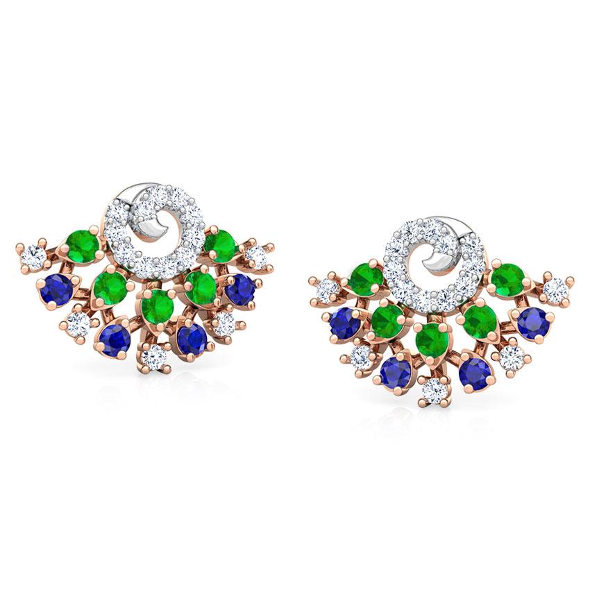 Diamond,Gemstone Earrings 18 Karat Rose Gold Tanya Vibrant Gemstone Stud Earrings