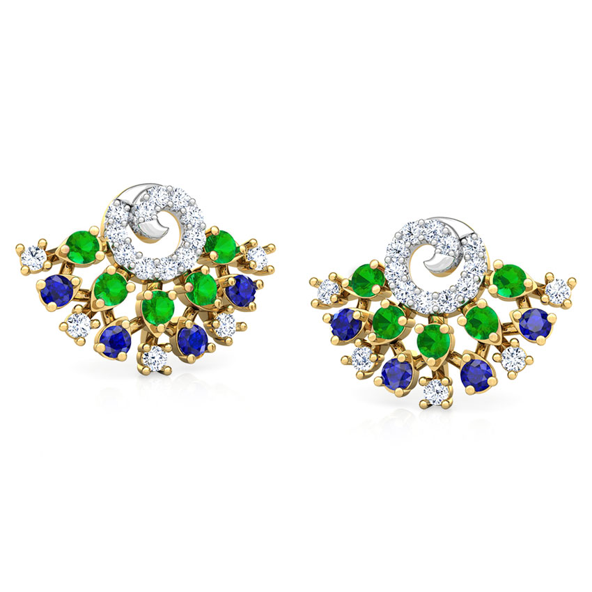 Diamond,Gemstone Earrings 18 Karat Yellow Gold Tanya Vibrant Gemstone Stud Earrings